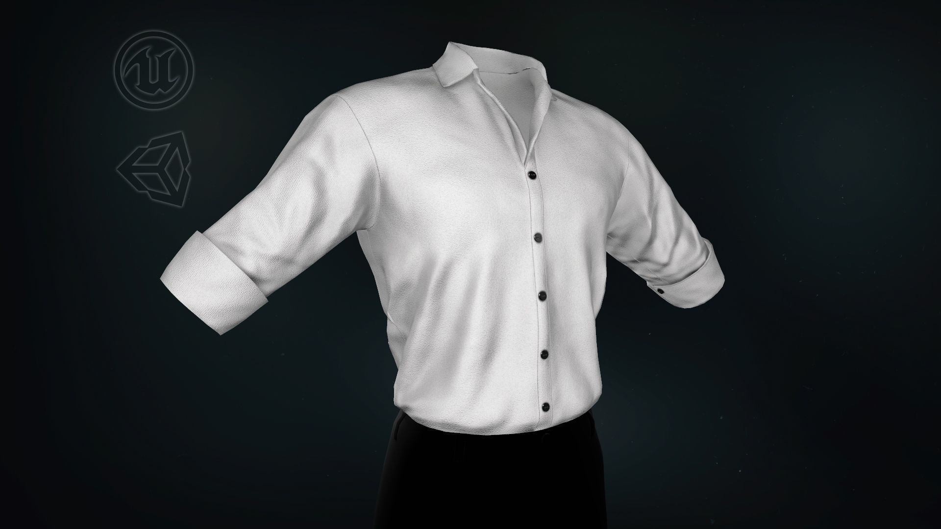 White Suit Shirt Rolled Sleeve