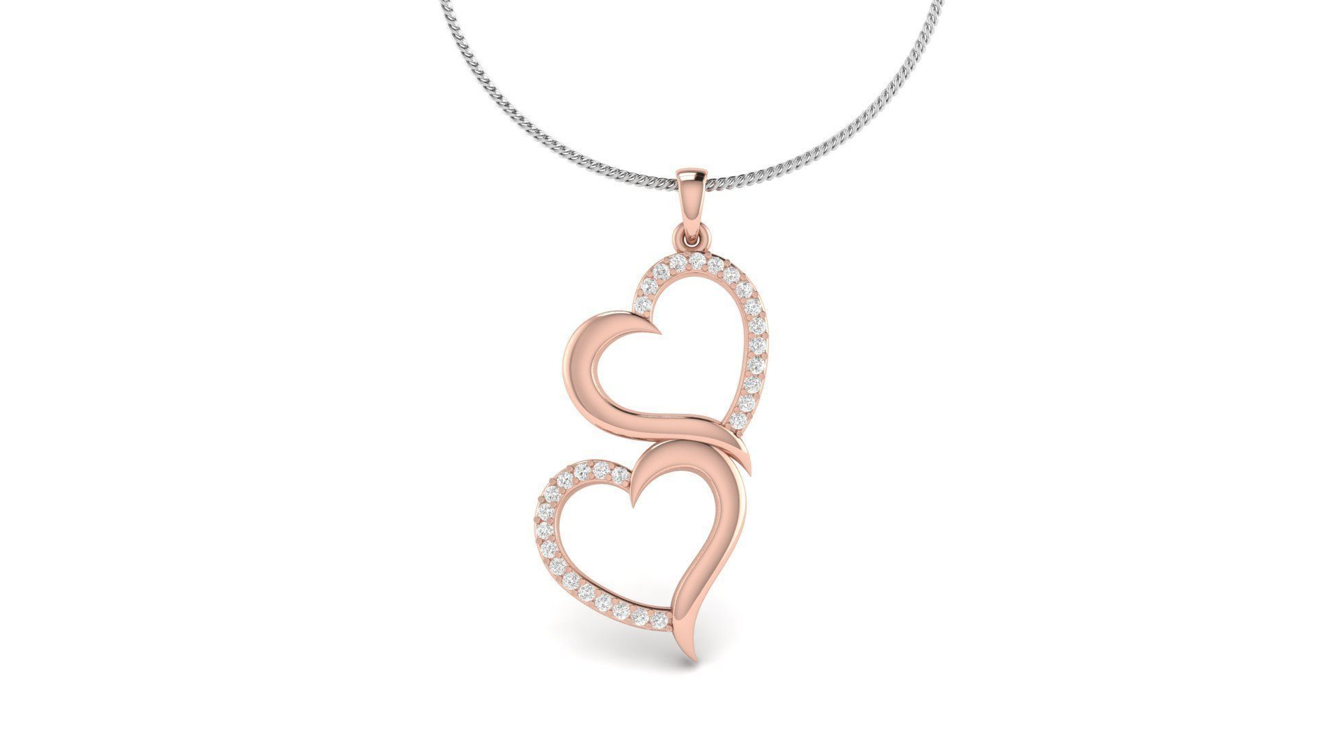 Cute Double Heart Diamond Pendant
