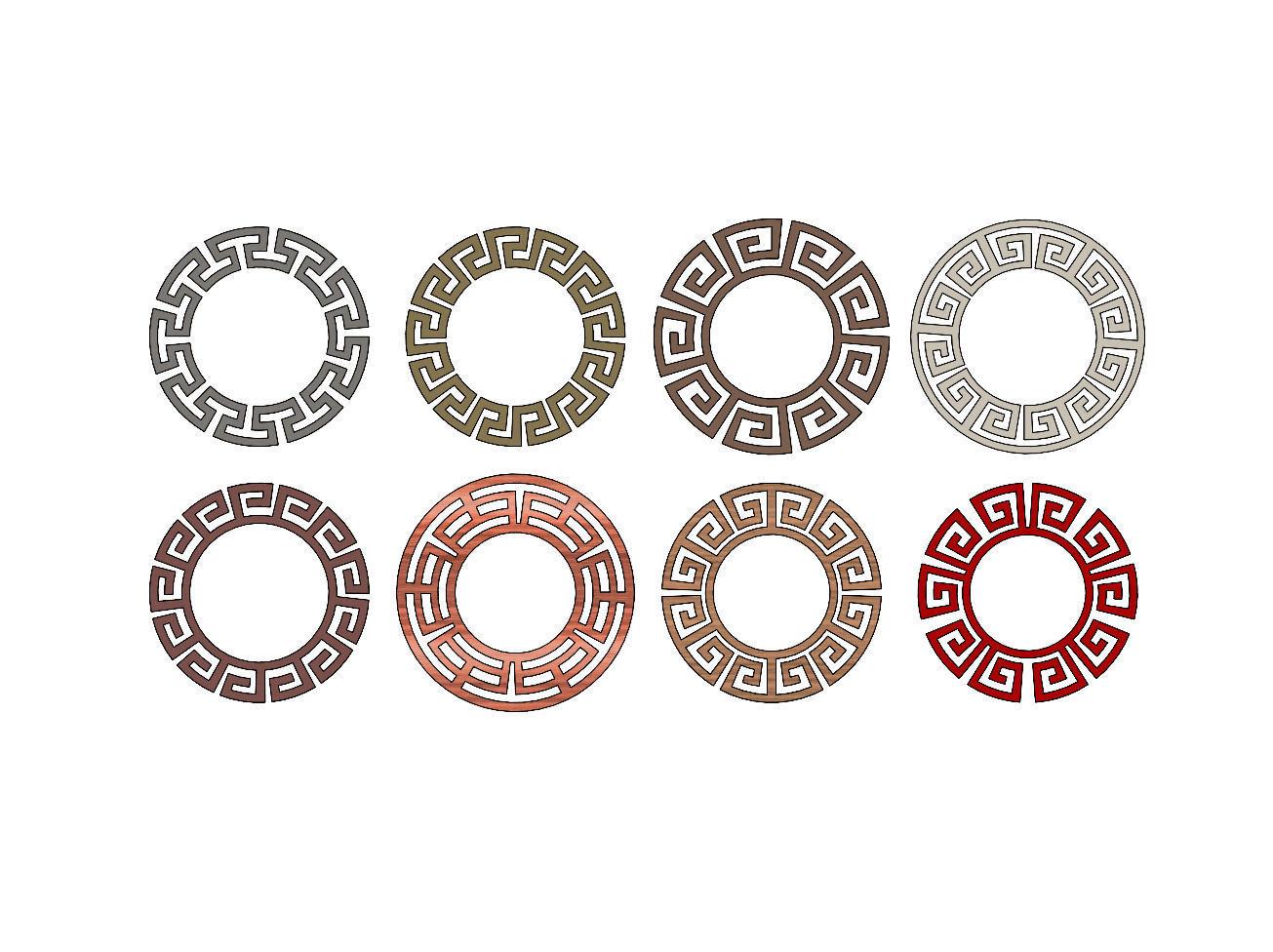 Meandre Greek key pattern circles