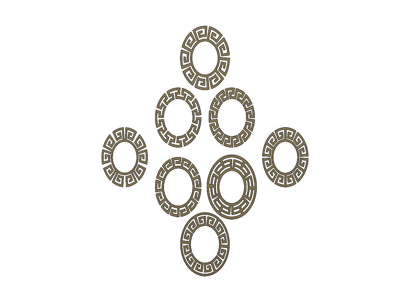 Elliptical Meandre Greek key pattern
