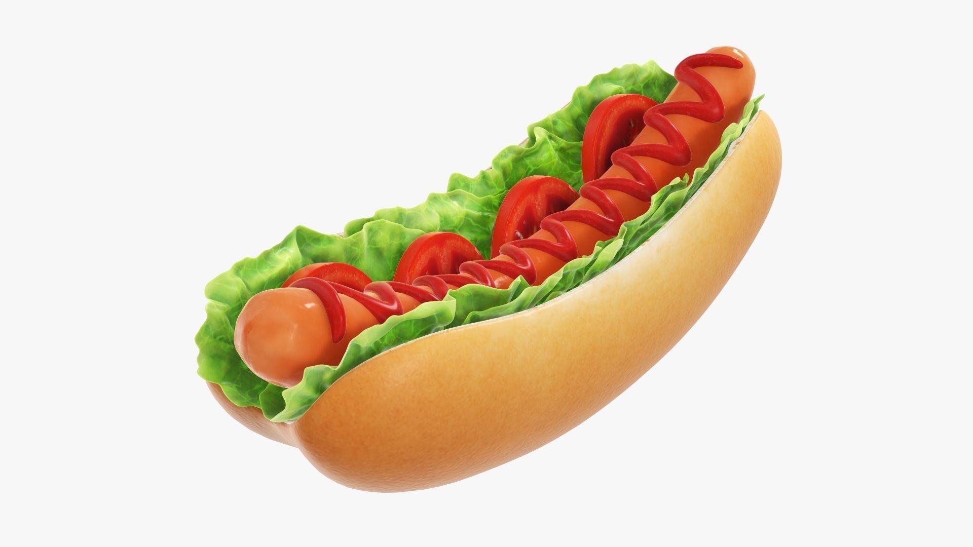 Hot dog with ketchup salad and tomato v2