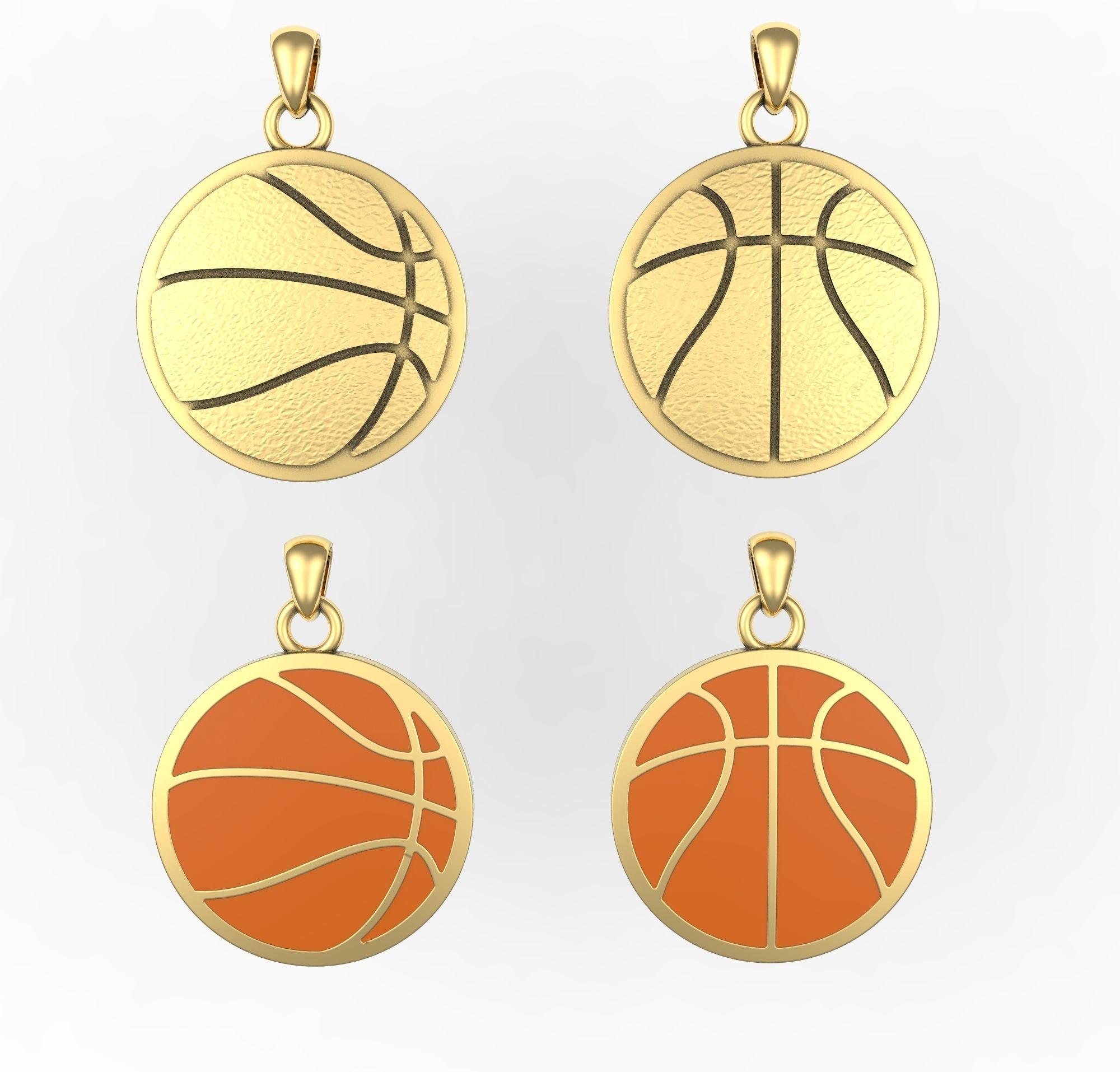 Basketball pendant or pin or broche