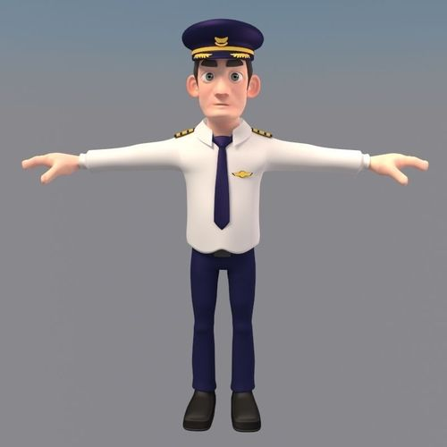 Cartoon Characters 3d Model : D model animated cartoon pilot character cgtrader
