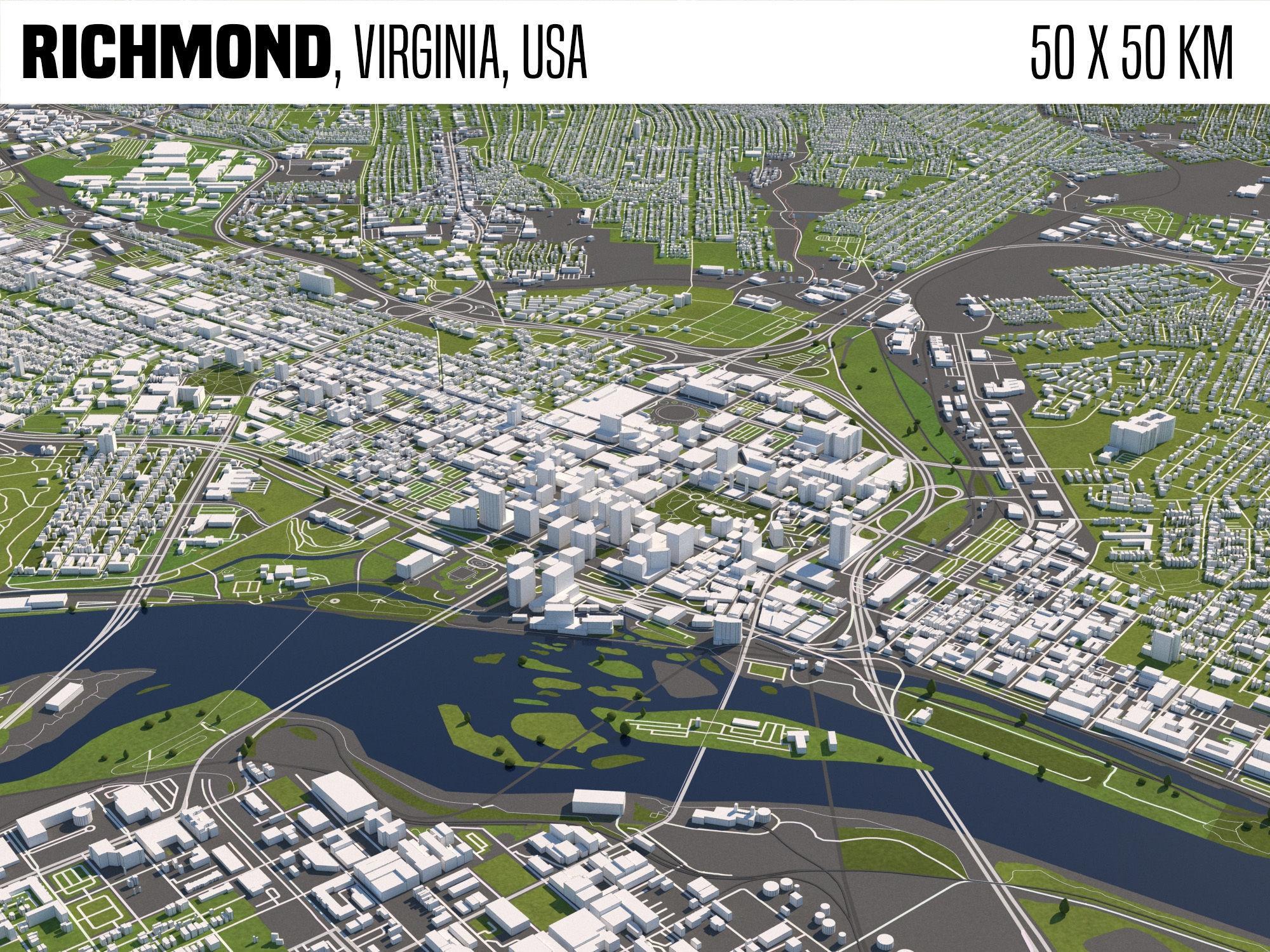 Richmond Virginia USA 50x50km