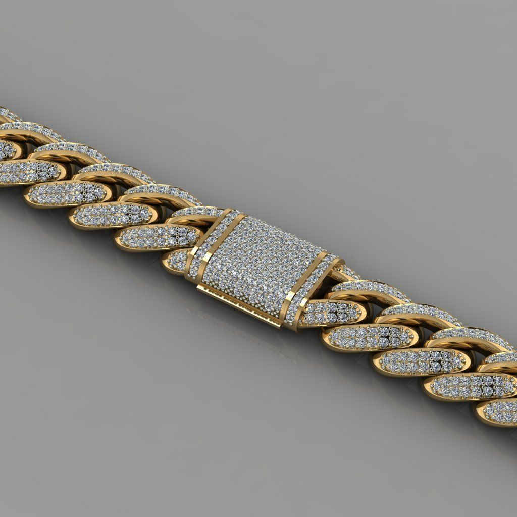 Miami cuban link chain bracelet with gems 0147