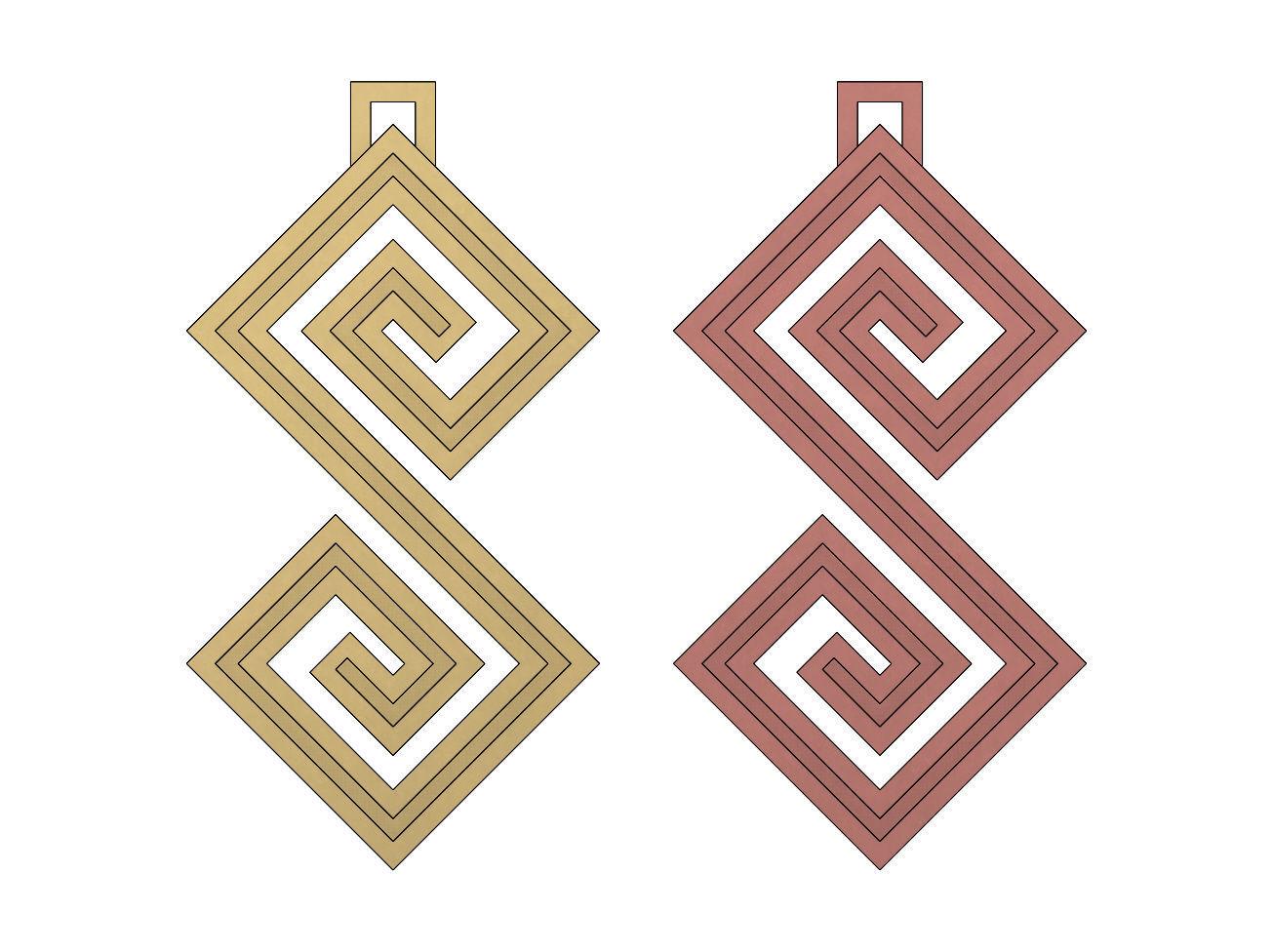 Double Scroll Greek key patterns pendant