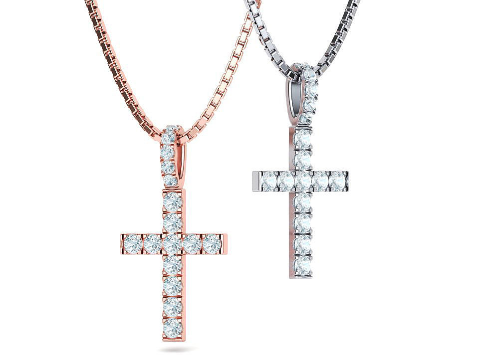 Diamond Pave Cross 41mm with French Pave Setting 3dmodel