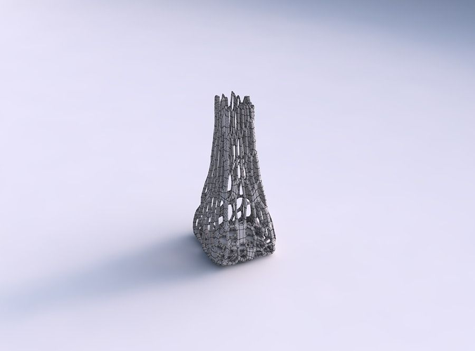 Vase squeezed rectangle with cracked organ... 3D Model 3D ...