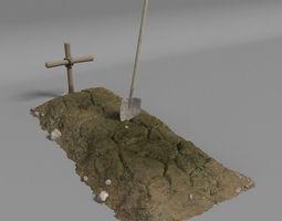 3D model Dirt Grave And Shovel
