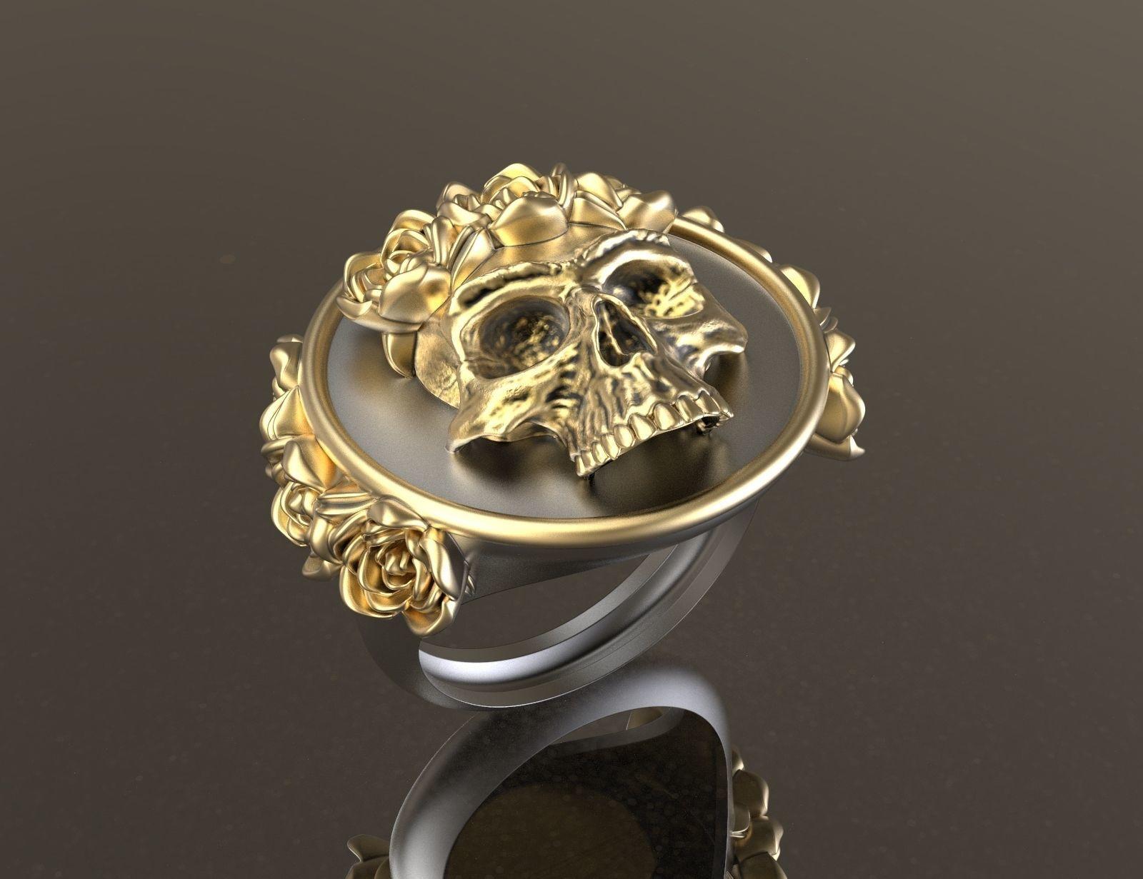 Frida Kahlo Skull Ring 3d Print