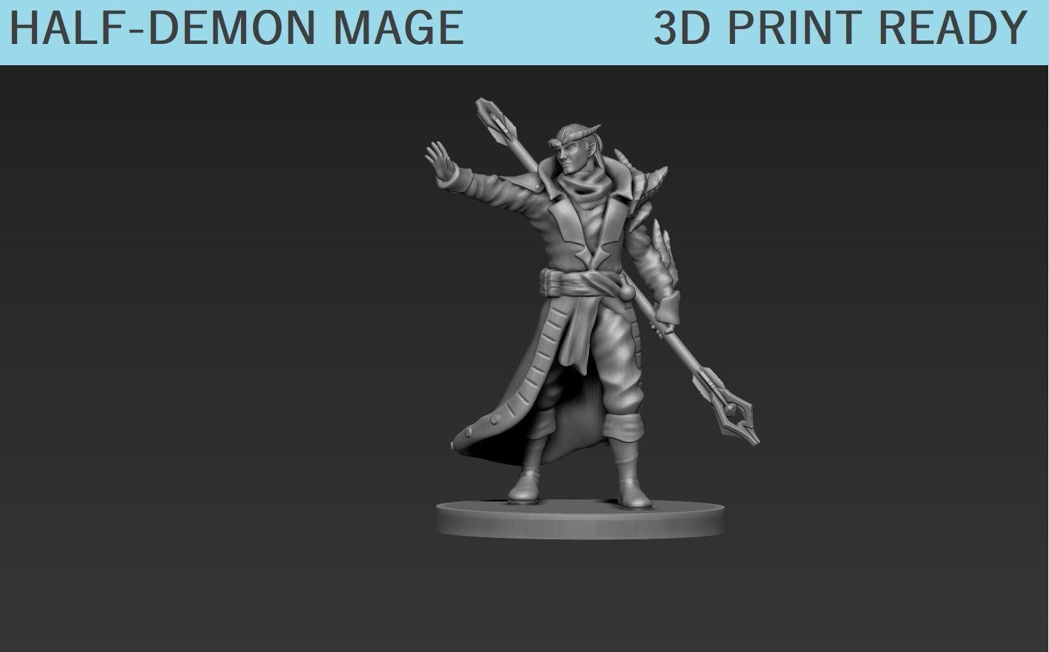 Half Demon Mage Miniature