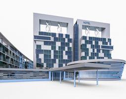 3D asset Hotel Resort Building
