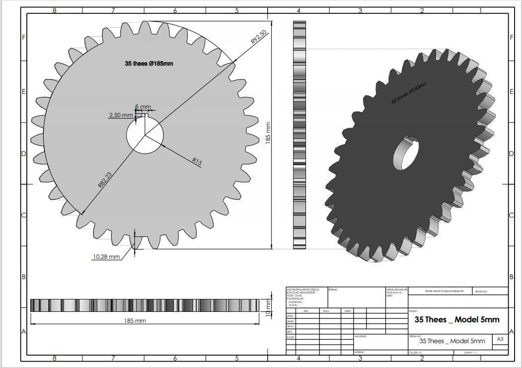 Original Size Gear Wheel 35 Tooth modul 5mm Ready for 3D print