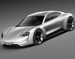 HQ LowPoly Porsche Mission E Concept 2015 3D Model