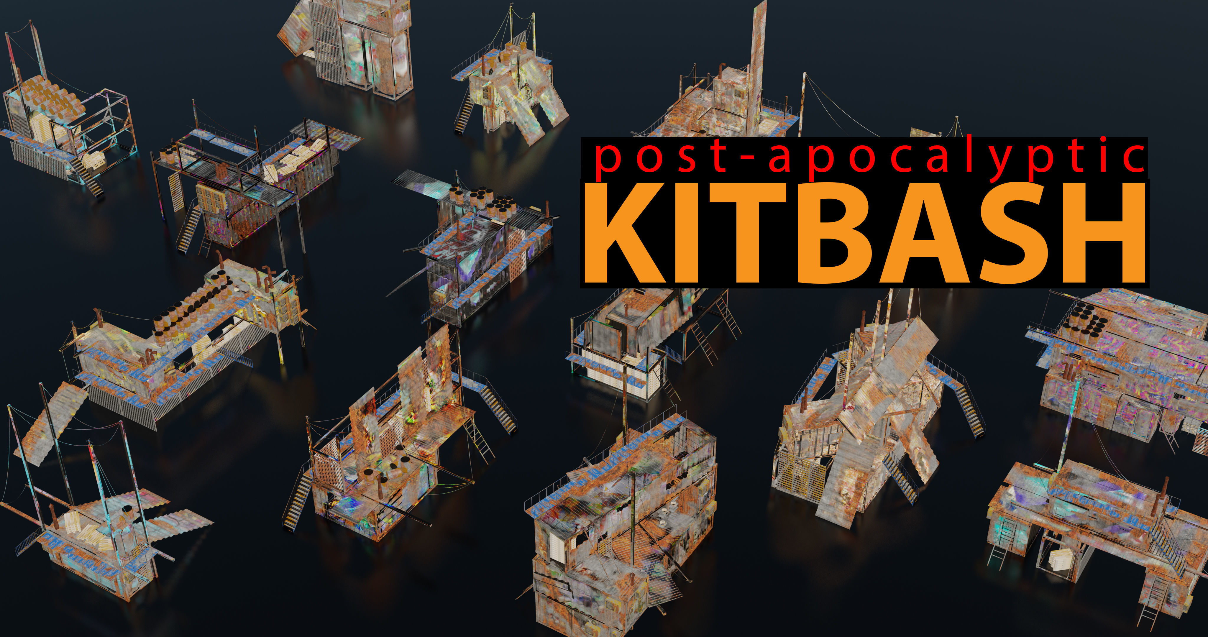 Post-Apocalyptic Kitbash Shipping Container Themed 60 pieces