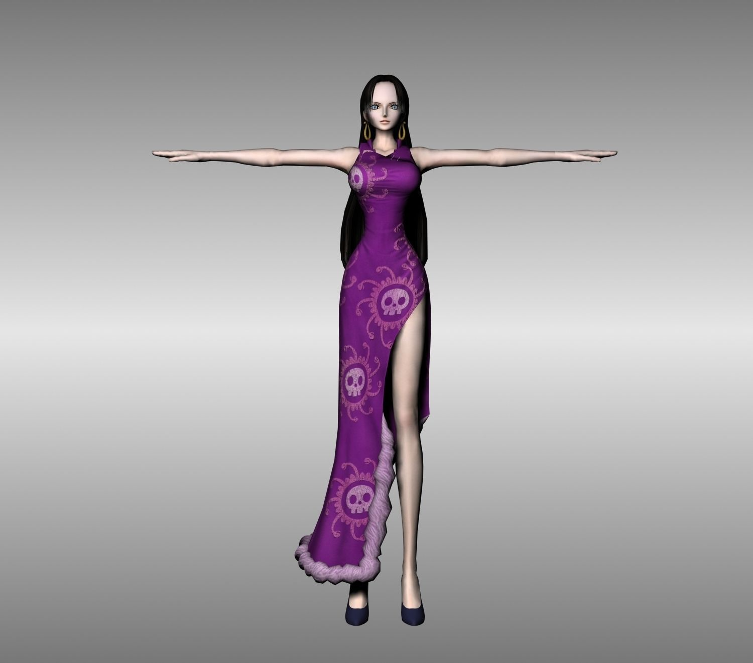 Boa Hancock One Piece 3D Model Rigged