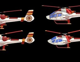 4 Game-ready Lowpoly Helicopters 3D Model