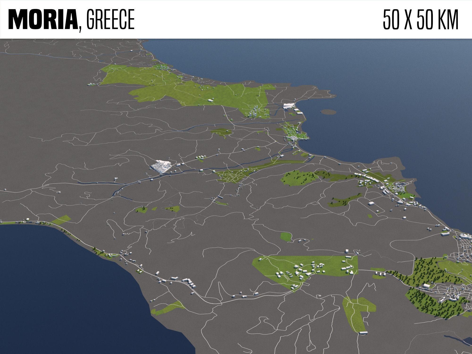 Moria Greece 50x50km