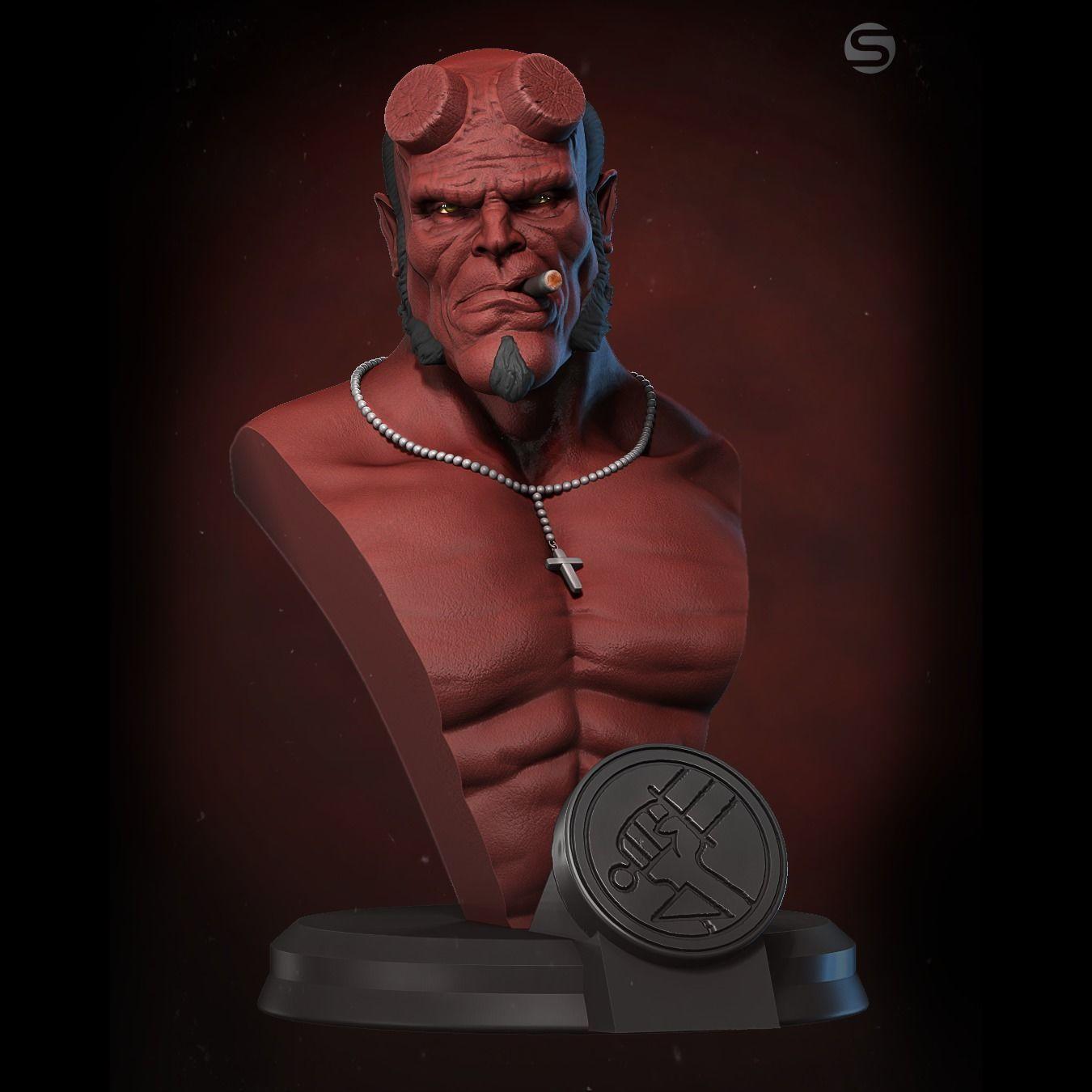 Hellboy bust miniature