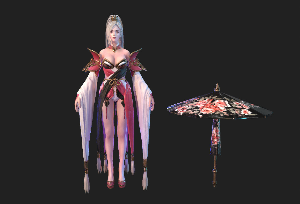 Ancient Asian beauty slim character 3d Low-poly model