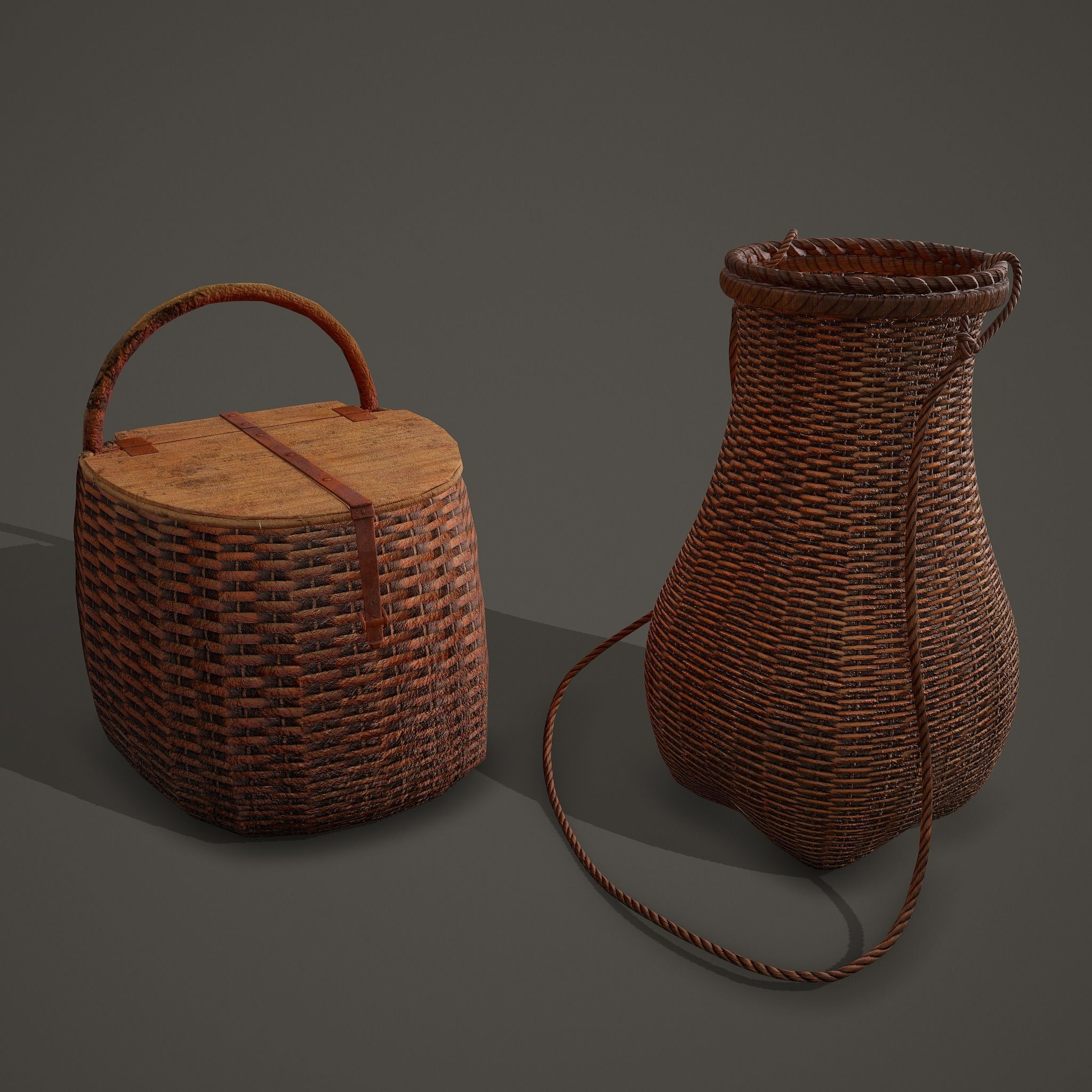 Medieval Style Wicker Basket One and Two