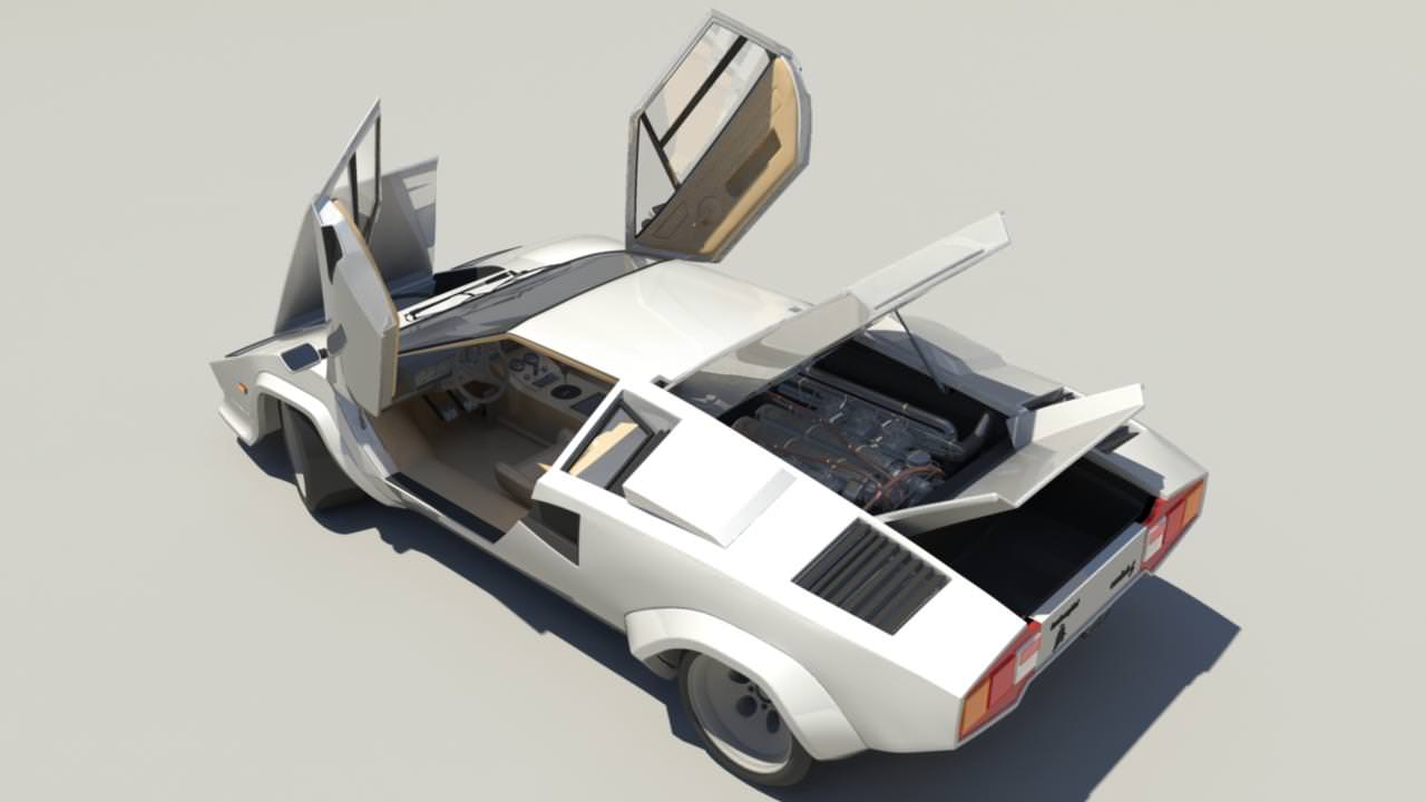 lamborghini countach lp5000 3d model rigged obj ma mb. Black Bedroom Furniture Sets. Home Design Ideas