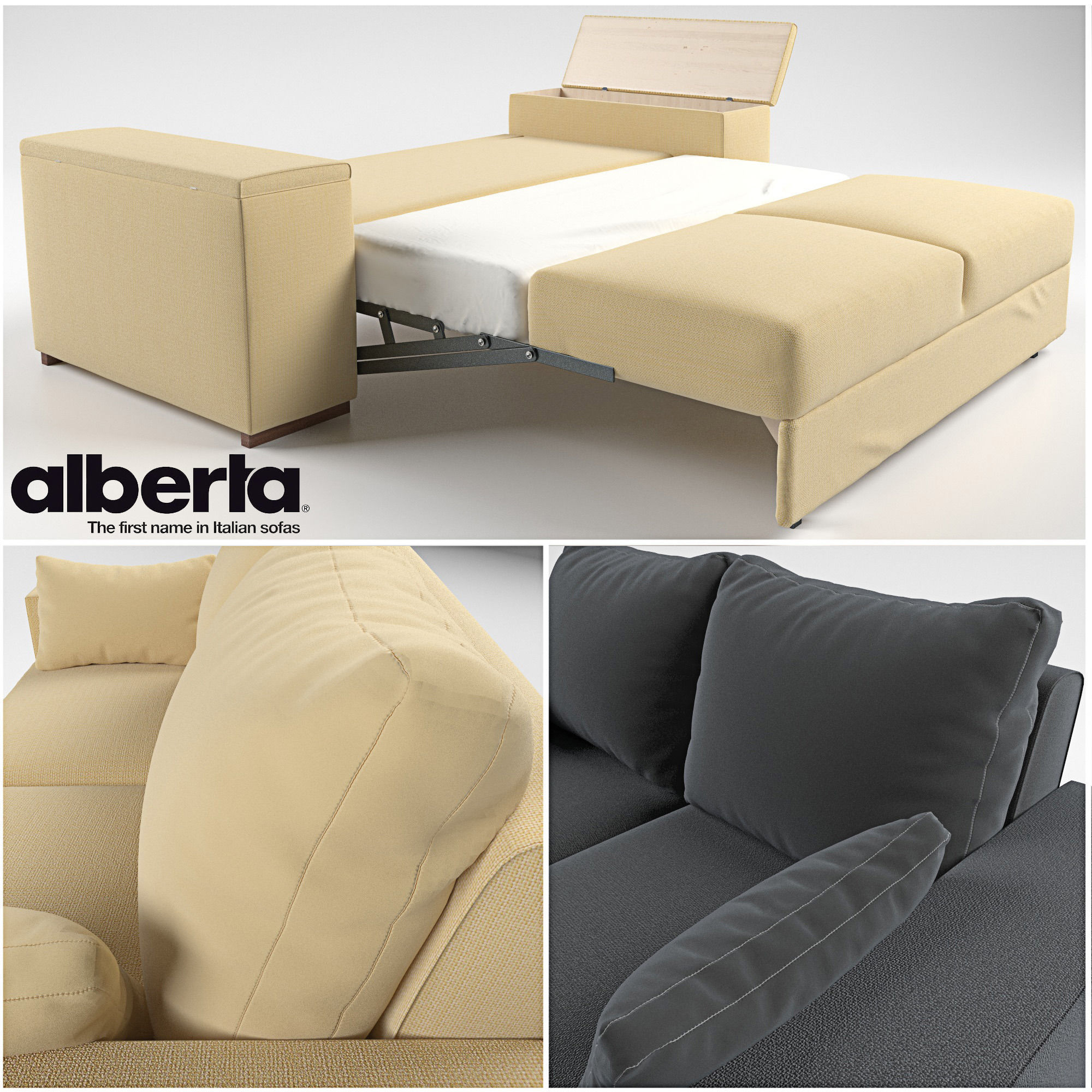 Togo Sofa Bed Transformer 3D Model Rigged Max Obj Mtl