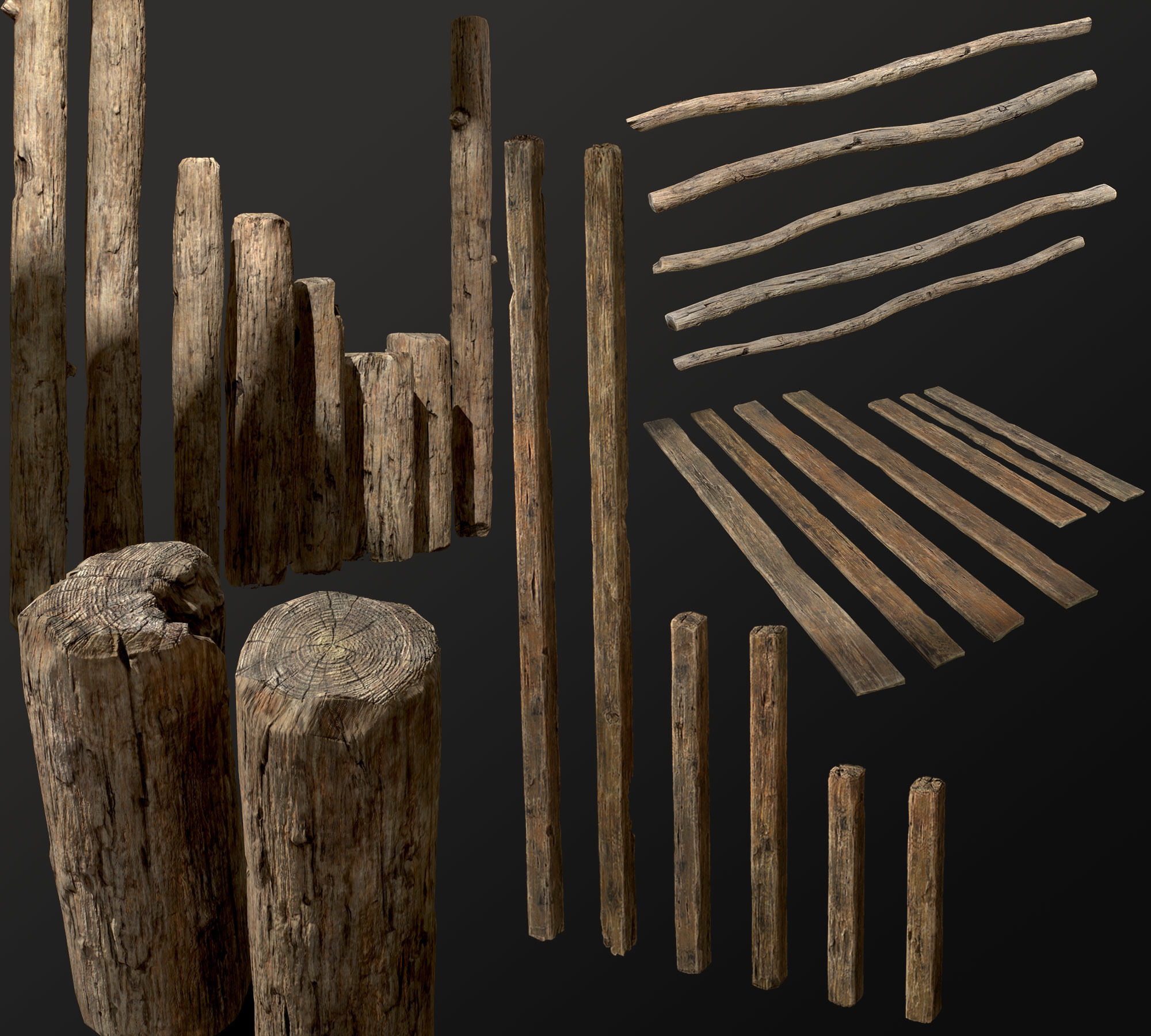 Old Wooden planks poles and beams 26 pieces