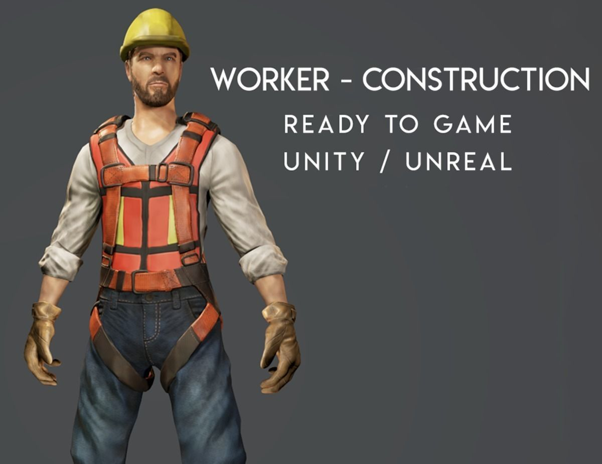 Worker - Construction - Ready to Game - Low Poly -FBX - 3D Model