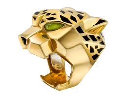 3d print model panthere lacquer onyx peridot gold ring