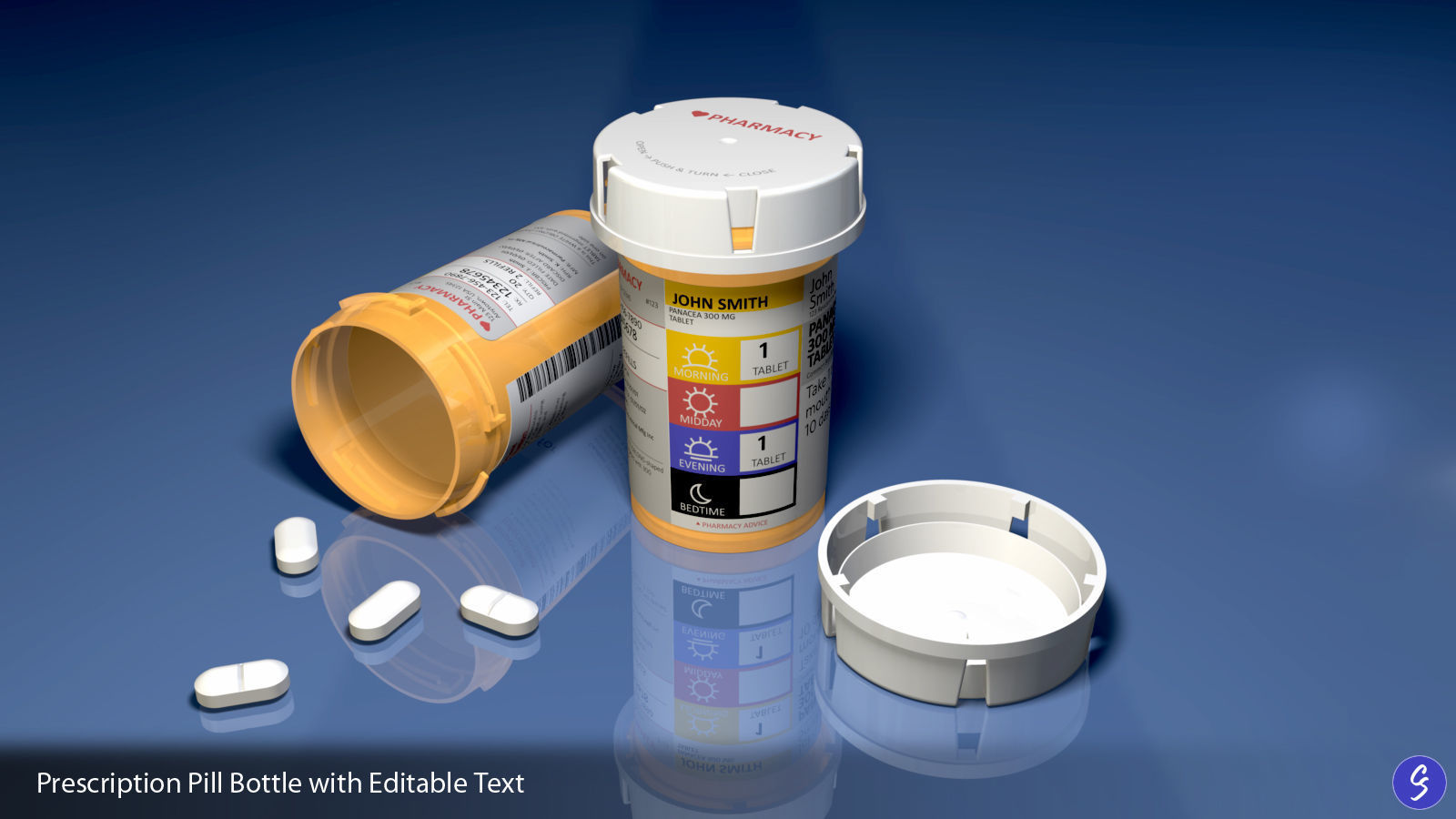 Prescription Pill Bottle with Editable Text 03