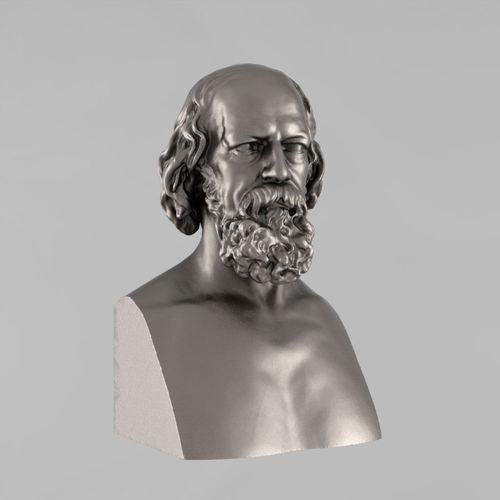 printable bust of tennyson - 2 3d model stl 1