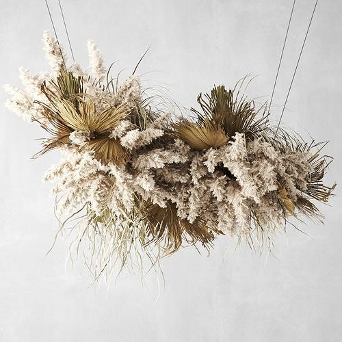 Pendant Decor  Pampas Grass And Dried Palm Leaves