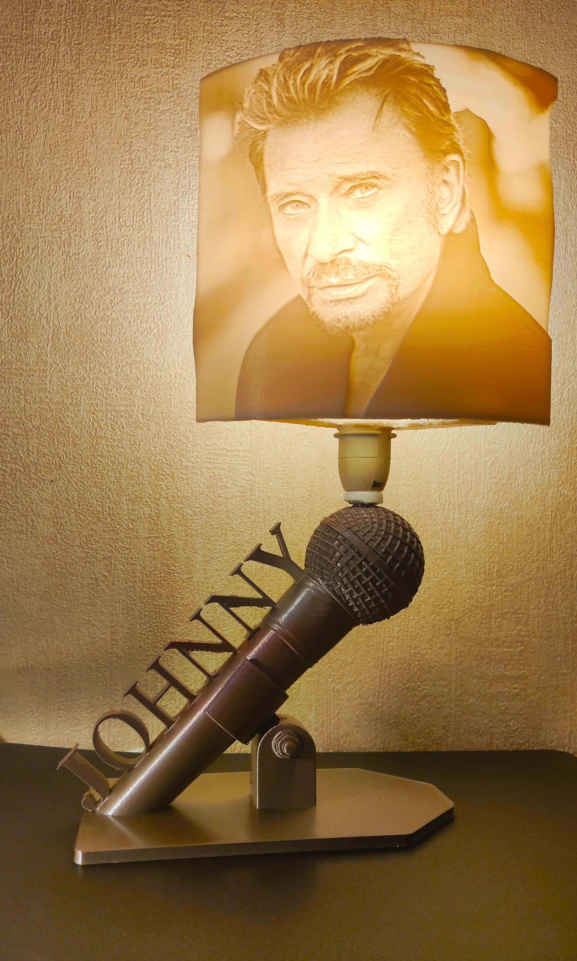 Johnny Hallyday lampe et litophane