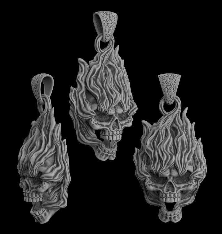 Pendant Skull on fire