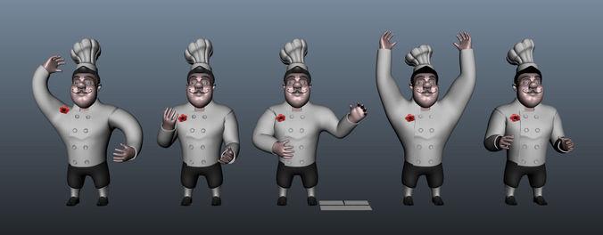 chef cartoon 5 poses 3d model max obj mtl ma mb 1