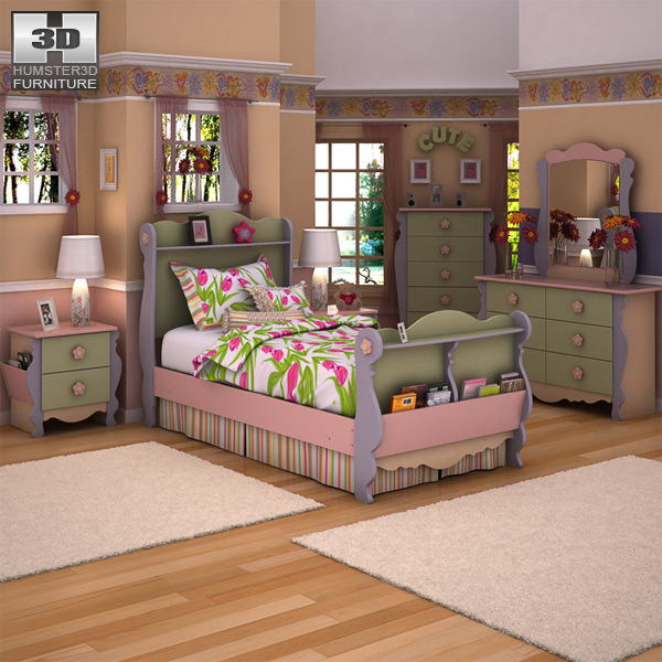 ashley doll house sleigh bedroom set 3d model low poly max obj mtl 3ds fbx - Ashley Bedroom Sets
