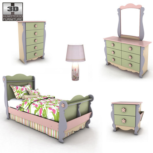 Ashley Doll House Sleigh Bedroom Set 3D Model Game Ready