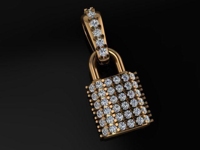 Diamond Lock Pendant