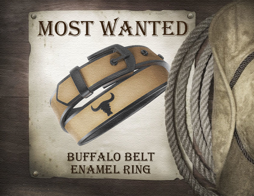 Buffalo belt enamel ring
