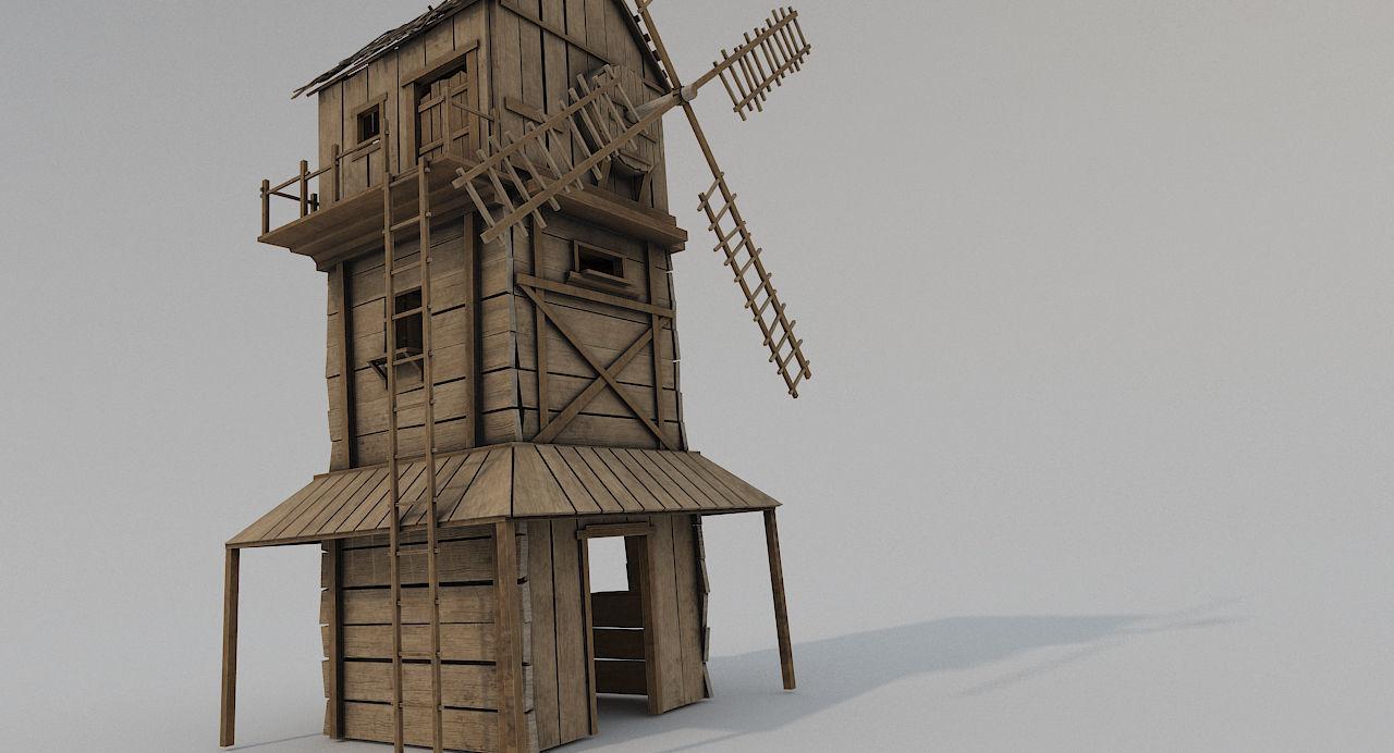 Medieval Wooden Windmill PBR