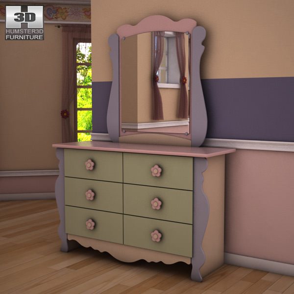 3D model Ashley Doll House Sleigh Dresser Mirror