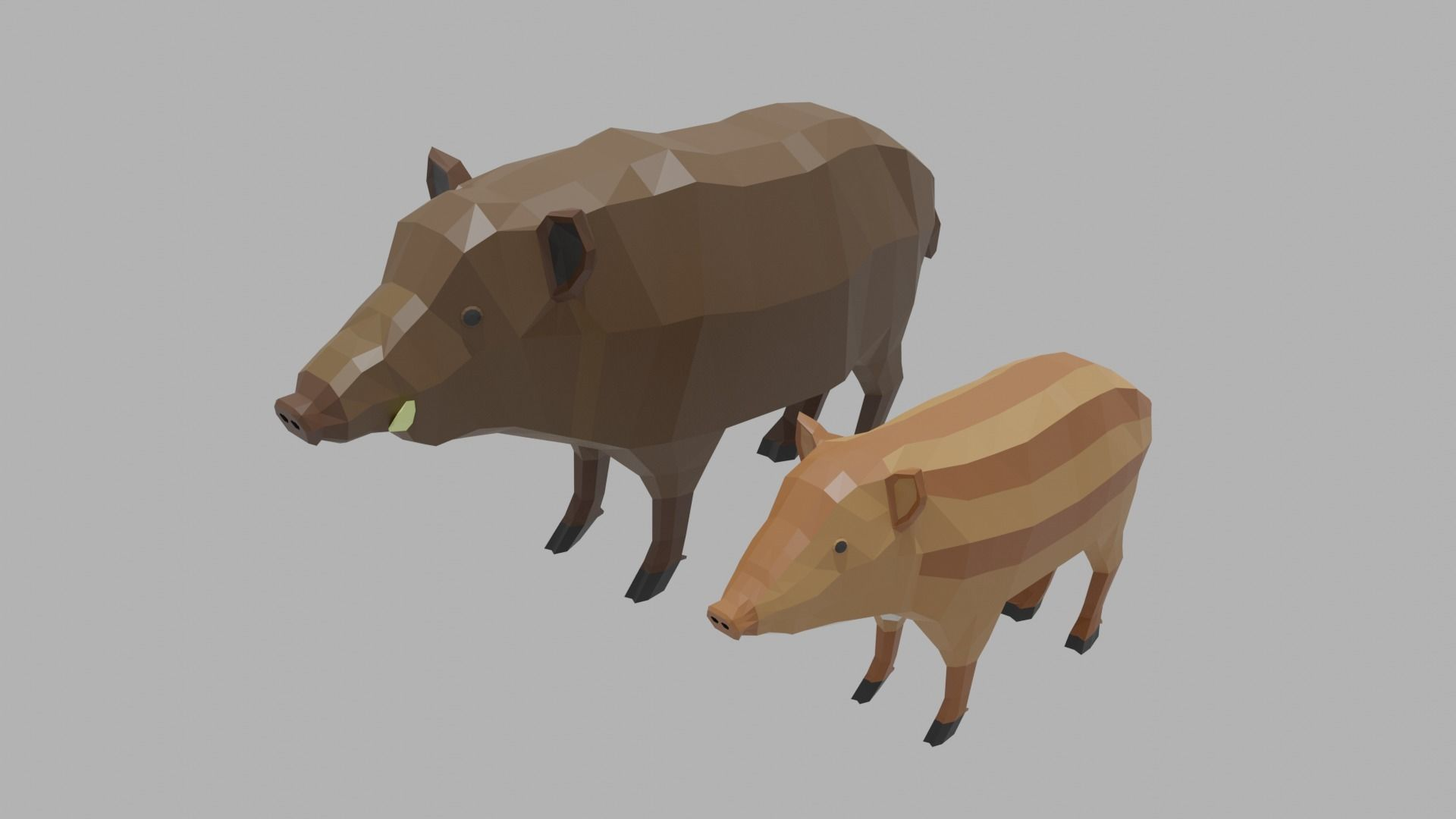 Cartoon Boar Family