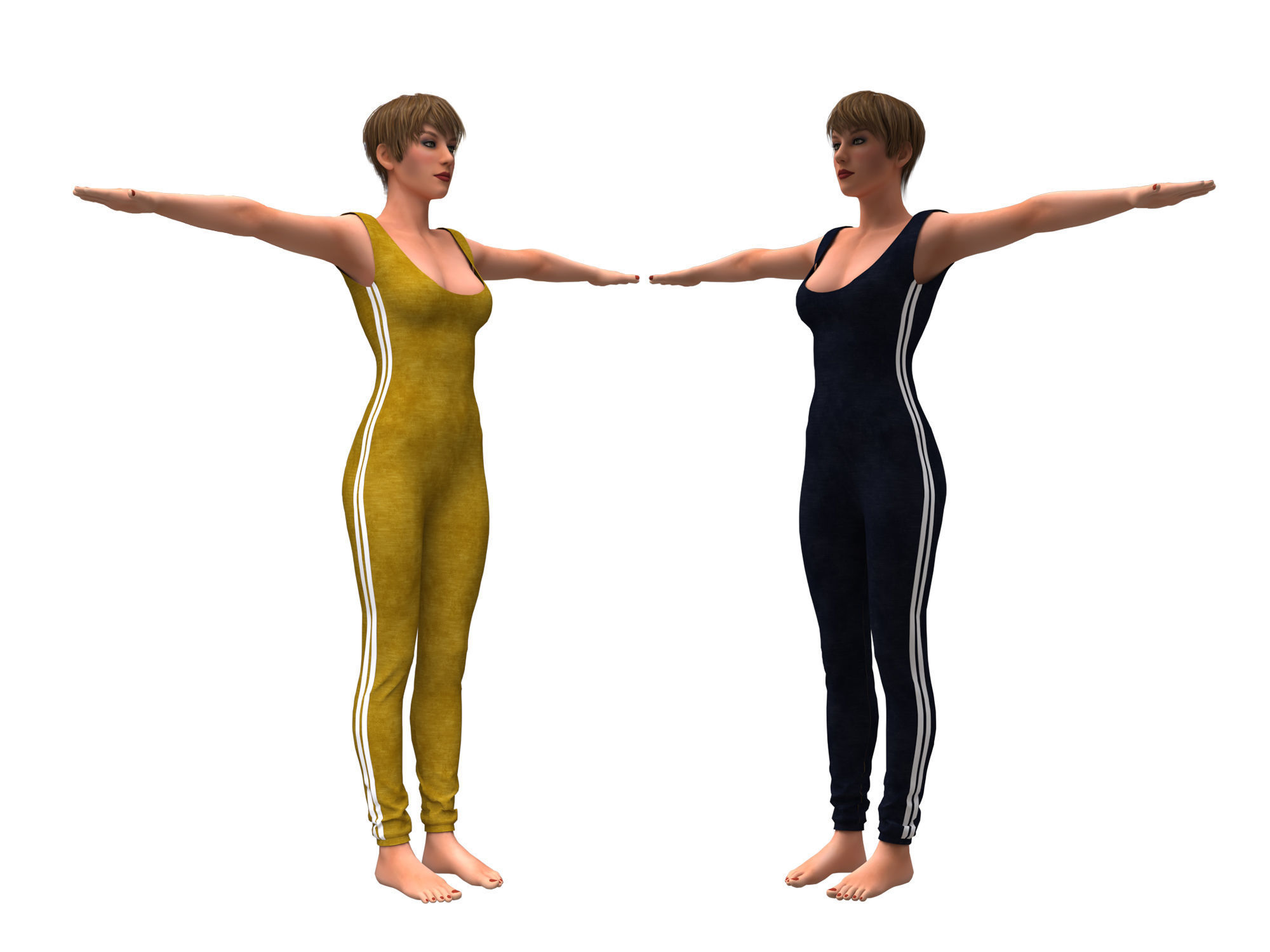 3d realistic womans with clothing