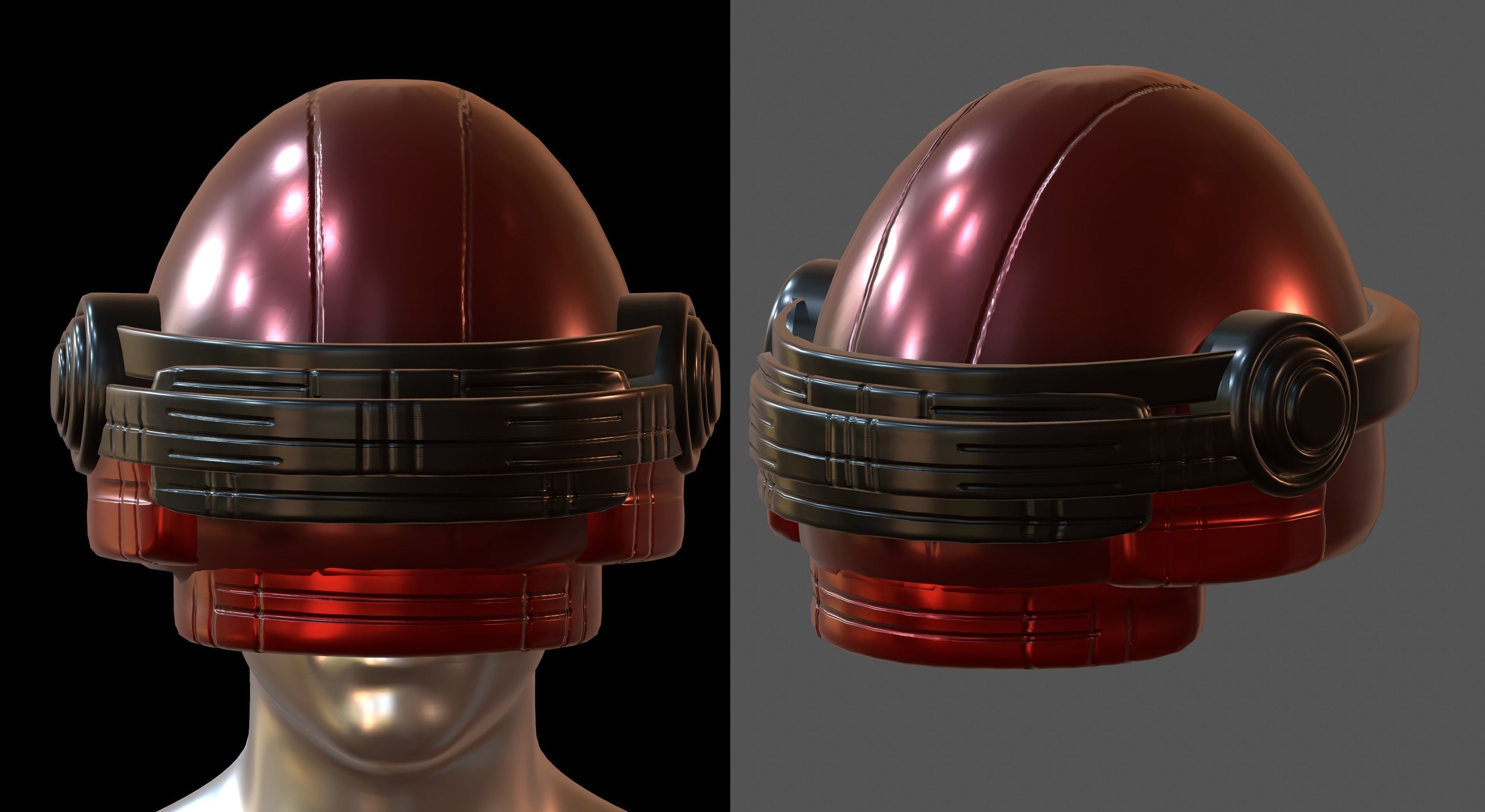 Gas mask helmet 3d model pbr scifi Low-poly