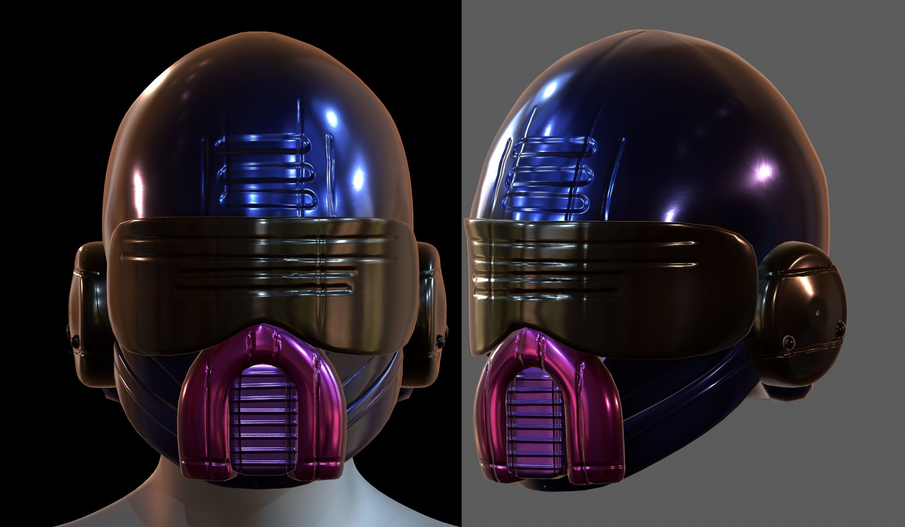 Gas mask helmet 3d model scifi Low-poly