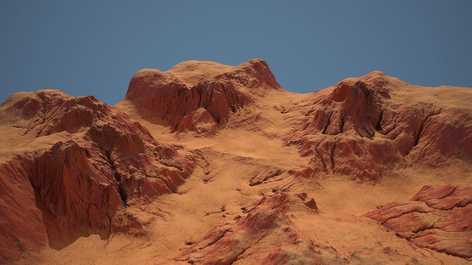 Tileable crossroad canyon with red rocks and sand