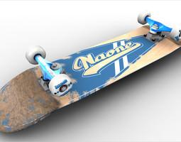 3d asset game-ready naone skateboard
