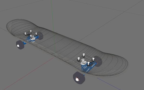 Naone skateboard 3d model game ready 3ds c4d - Skateboard mobel ...