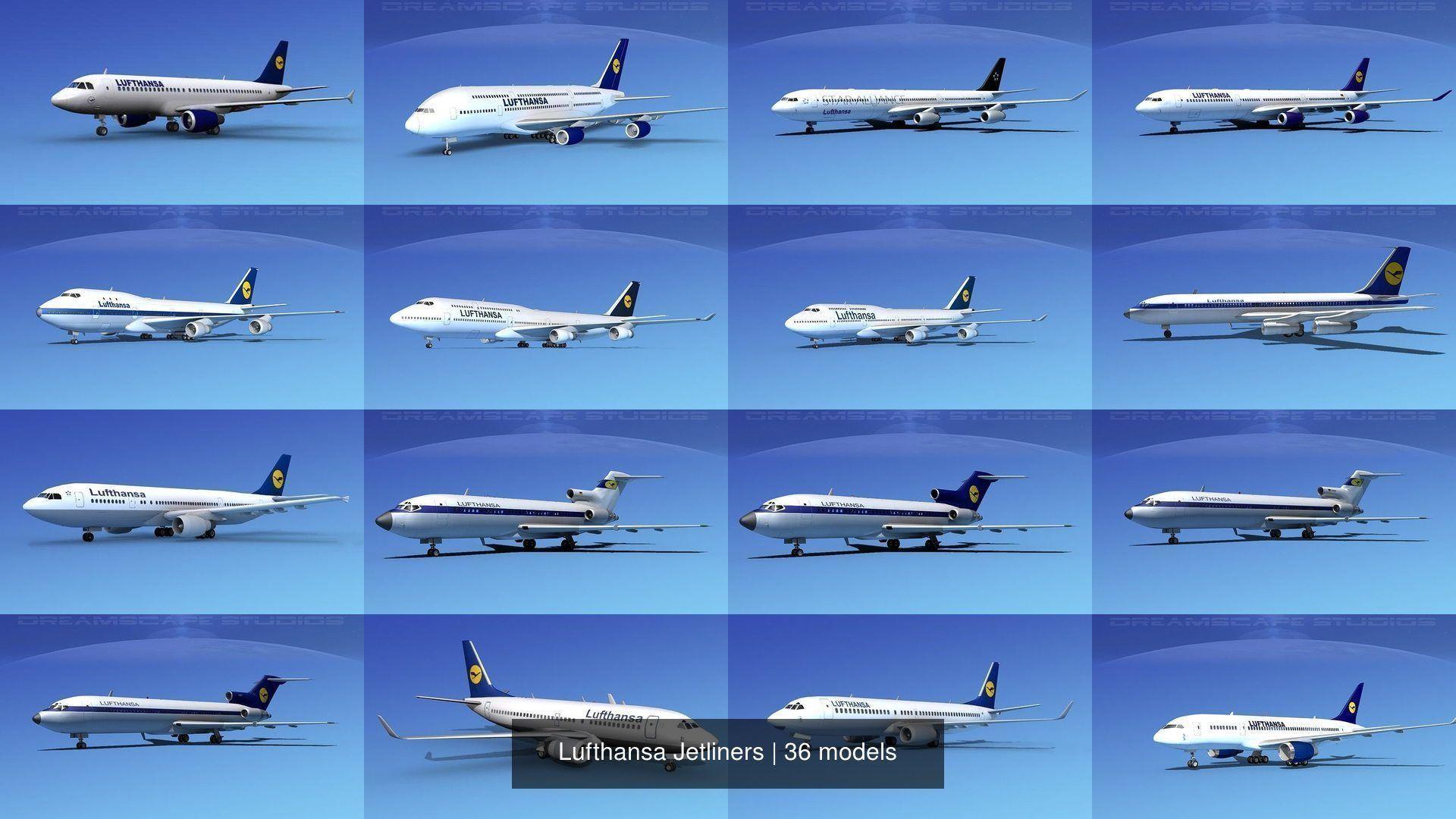 36 Lufthansa Jetliners